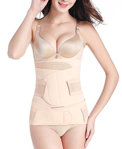 Sayfut 3 In 1 Postpartum Support   Recovery Belly Waist Pelvis Belt Shapewear  Large  Nude Mesh