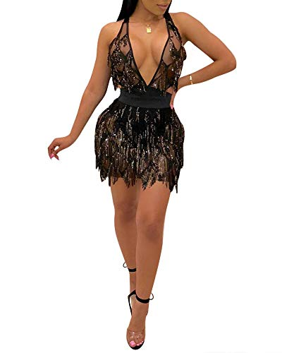 acelyn Women's Sexy Halter Backless See Through Sequins Floral Club Bodycon Mini Dress (XL, A182-Black)