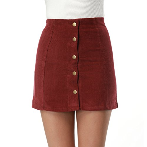 Clarisbelle Women High Waist Single Breasted Corduroy Skirt Red Small