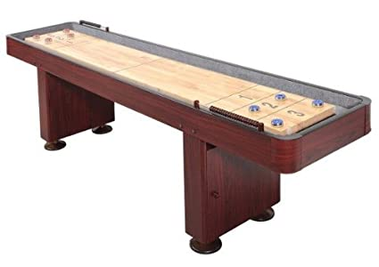 Beau Shuffleboard Table 12 Ft Set Hardwood Block Surface Home Game   Dark Cherry