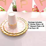 Gold Pink Disposable Paper Plates and Cups Set - Serves 30, Dinner Plates 30 Dessert Plates 30 and 30 9 oz Cups for Party Supplies, Birthday, Wedding, Anniversary, Bridal/Baby Shower Celebrations