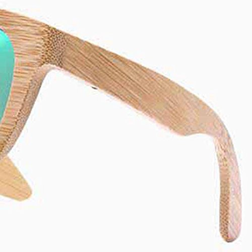 Green Hommes Avec pour Bambou Polarisée en de Boîte Rangement Sunglass Vintage Femmes Lumière Sp7qwHZWFx