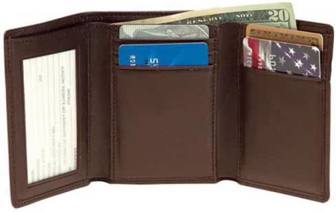 Royce Leather Men's Tri-Fold Wallet with Double ID Window