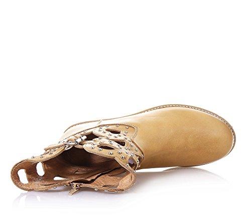 latérale avec Botte et Femmes à Femme Filles cuir originale 35 Fille la éclair mode fermeture marron SET TWIN en ORBgw