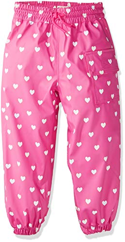 Heart Cord Pants - Hatley Kids' Little Childrens Splash Pant, Color Changing Multi Hearts, 6 Years