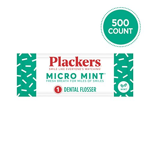 Plackers Individually Wrapped Micro Mint Dental Floss Picks, 500 Count