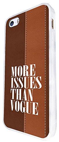 346 - More Issue Then Vogue Leopard Print Background Design iphone SE - 2016 Coque Fashion Trend Case Coque Protection Cover plastique et métal - Blanc