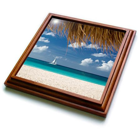 3dRose trv_257401_1 Sailboat Off Eagle Beach, Aruba, West Indies Trivet with Tile, 8'' x 8'' by 3dRose (Image #1)