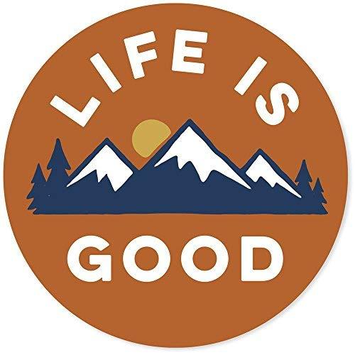 """Life is Good. 4"""" Circle Sticker - LIG Mountains - Deep Orange"""