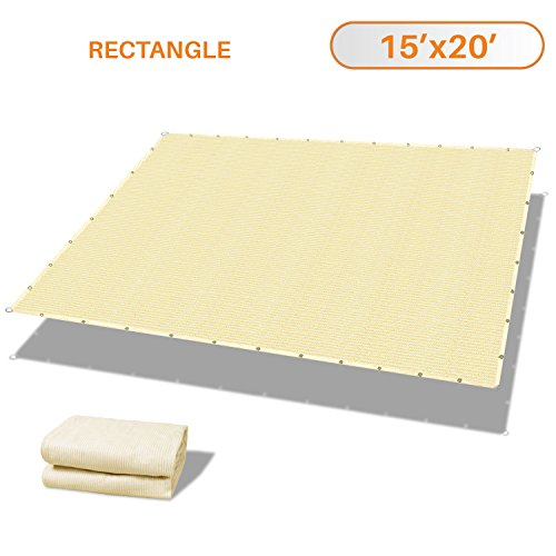 - Sunshades Depot 15' x 20' Straight Side Sun Shade Sail 180 GSM Beige Patio Rectangle Shade Fabric UV Shelter Pergola Cover for Outdoor Backyard Deck - 3 Year Warranty