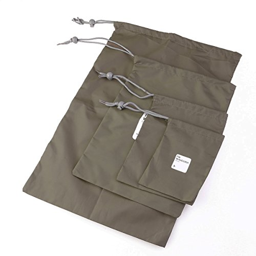 - VORCOOL Outdoor Waterproof Storage Bags Travel Nylon Drawstring Storage Bags Pouches Organizers in Different Sizes 4pcs Olive Green