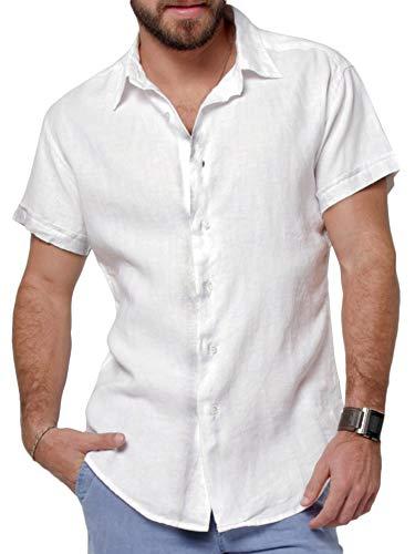 Pengfei Mens Short Sleeve Shirts Button Down Linen Cotton Fishing Tees Spread Collar Plain Summer Shirts