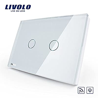 LIVOLO White US/AU Standard 2 Gang 1 Way Remote & Dimmer Touch Switch(No Remote Controller) AC 110-220,C302DR-81
