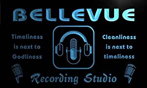 qm2255-b Bellevue Recording Studio Microphone On the Air Bar Neon Beer Sign