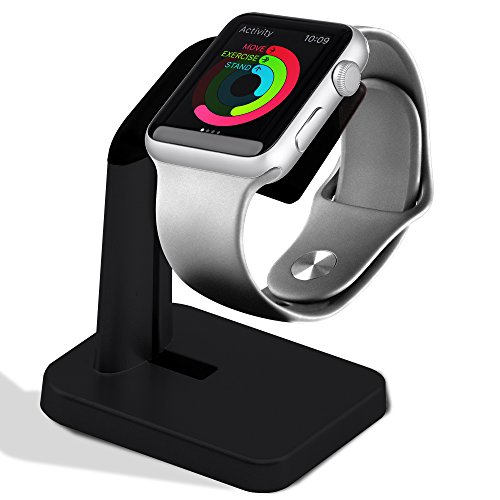 A'O Apple Watch Charging Station Compatible with Apple Watch Charger, iWatch Holder Stand for Smart Watches Series 38/42mm. Silver Black Color Station, Cable not Included. Antislip Platform. by A'O