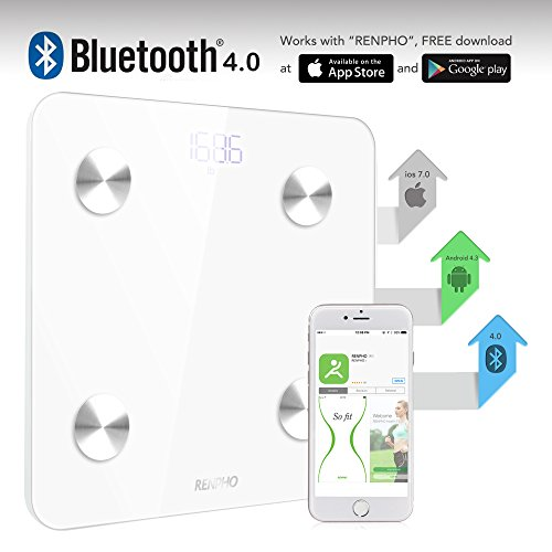 Large Product Image of RENPHO Smart Body Fat Scale Bluetooth Digital Bathroom Scales Wireless Weight Scale FDA Approved BMI Scale Body Composition Monitor with Smartphone App, 396 lbs - White