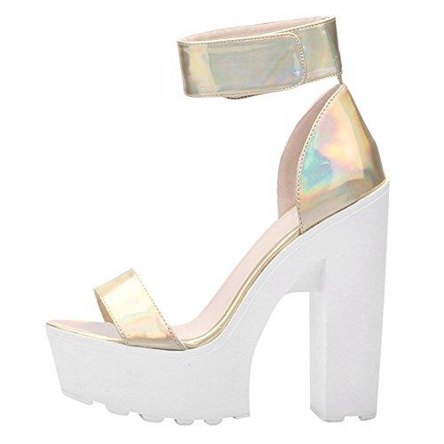 Women's Fashion Platform Lug Sole Chunky High Heel Sandals Golden Laser