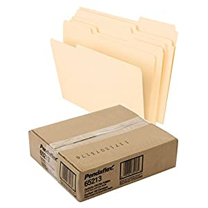 Pendaflex File Folders, Letter Size, 8-1/2″ x 11″, Classic Manila, 1/3-Cut Tabs in Left, Right, Center Positions, 100 Per Box (65213)