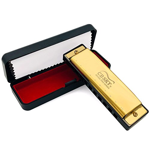 Harmonica Standard 10 Hole 20 Tones Harmonica Key of C Blues for Beginners Students Children Kids with One Year Warranty, Gold By REZIPO