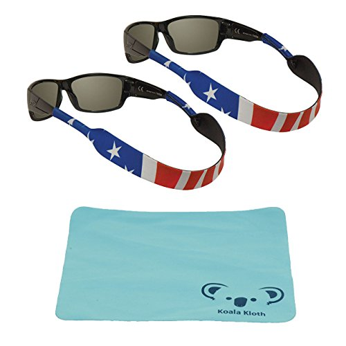 Chums Classic Neoprene Patriotic Eyewear Retainer Sunglass Strap Band | Eyeglass & Sports Glasses Holder Keeper Lanyard | 2pk Bundle + Cloth, USA American Flag Print (Holder Patriotic)
