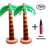 KissDate 2 Pack 90cm Inflatable Palm Tree with One Balloon Pump for Hawaiian Luau Tropical Summer Pool Beach Birthdays Party Decoration Supplies (Random Color)
