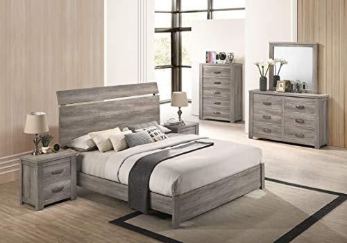 Bedroom Roundhill Furniture Floren Contemporary Weathered Gray Wood Bedroom Set, King Panel Bed, Dresser, Mirror, Two… modern bedroom furniture sets