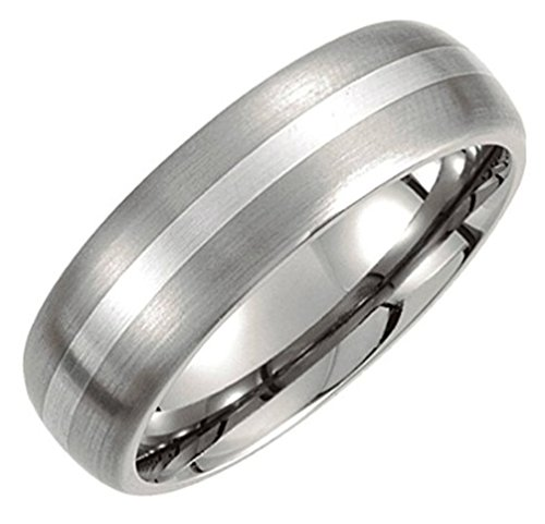 7 mm Titanium and Sterling Silver Inlay Dome Comfort Fit Band Size 12.5 by The Men's Jewelry Store