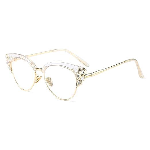 7a35910b833 KACHAWOO Women Cat Eye Rhinestone Glasses Metal Frame Luxury Eyeglasses  Female Fashion (Clear)