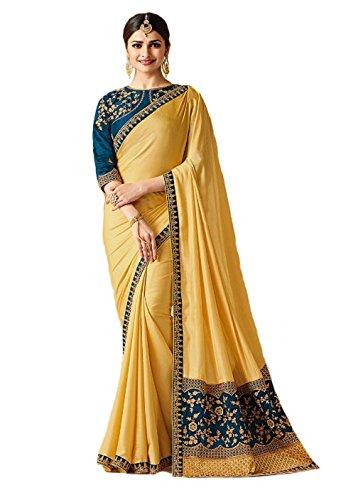 Indian Ethnic Bollywood Saree Party Wear Pakistani Designer Sari Wedding, Saree for Womens (Yellow)