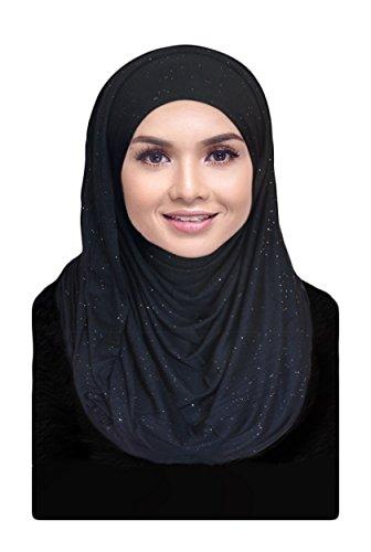 Hana's Womens Girls Cotton Jersey Glitter Hijab Scarf (One Size, (Glitter Womens Jersey)