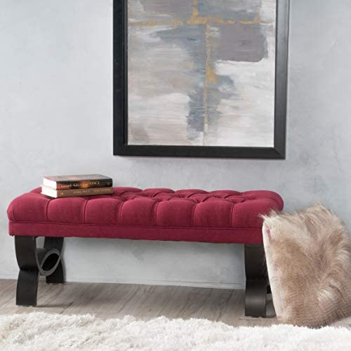 Red Tuft Ottoman Decorative Bench Upholsetered Cushion Indoor Seating Modern Furniture Sturdy Wood Frame Soft Comfy