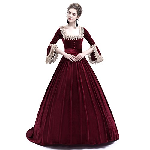 D-RoseBlooming Velvet Marie Antoinette Queen Theatrical Victorian Ball Gown Dress (X-Small, -