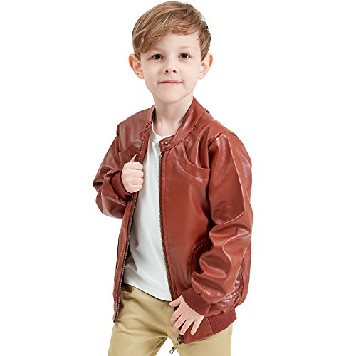Encontrar Boys Faux Leather Jacket Trendy Stand Collar Coat Brown 11-12