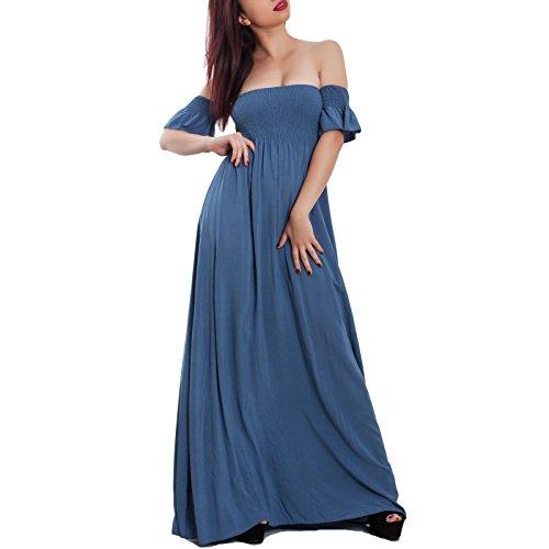 donna abito nude Toocool elastico estivo 50262 leggero JL Vestito lungo elegante estivo Polvere spalle 56wwtx4Aq