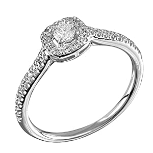 0.25 Ct. Natural White Diamond Engagement Ring In 14K White Gold For Women