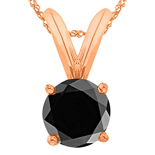"1 Carat 14K Rose Gold Round Black Diamond 4 Prong Solitaire Pendant Necklace (AAA Quality) W/ 16"" Gold Chain"