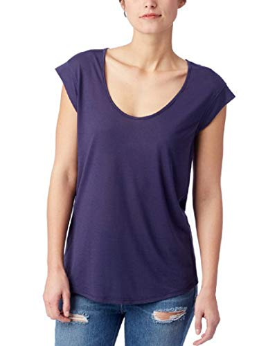 (Alternative Women's Slinky Scoop Cap Sleeve Crew Midnight X-Small)