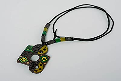 Handmade Clay Pendant On Long Cord Stylish Designer Accessory With Enamel Painting