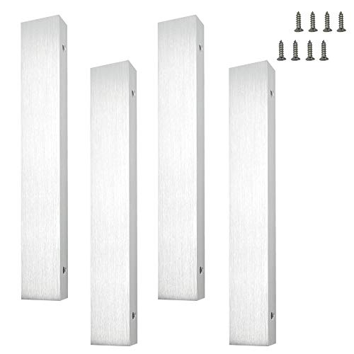 LICTOP 8'' Drawing SILVER Brushed Nickel Back Mount Finger Pull with Screws(4Pcs)