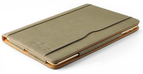 iPad Air und Air 2, JAMMYLIZARD Ledertasche Smart Cover (5. und 6. Generation), OLIVGRAU & HONIG