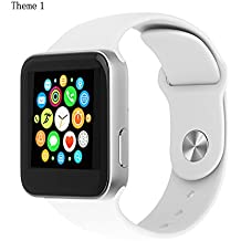 LUOOV Unisex Sports Waterproof Wireless Bluetooth Smart Wrist Watch with Remote Camera and 1.54-Inch 240x240 Display (White)