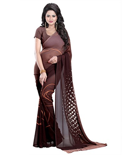 Heena Brown White Printed Georgette Saree