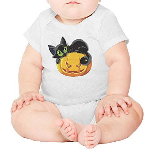 Unisex Baby Boy Girl Halloween Pumpkin with cat Short-Sleeve Bodysuit for $<!--$22.50-->
