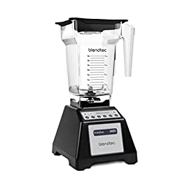 Blendtec Total Classic Original Blender with FourSide Jar (75oz volume/32 oz Wet/Dry Fillable), Professional-Grade Power, 6 Pre-programmed Cycles, 10-speeds, Black 10 Easy Blending Cycles: 1-touch buttons, 6 pre-programmed cycles, pulse, and 10 speed manual control with the ability to achieve a variety of textures. Complete control to adjust your blending at any time while blending Patented Blade/80% Thicker: Stainless-Steel forged blade, with wings, for amazingly smooth blends (10X stronger than other blender blades). Note: Blade is not sharp, blade is dull. No more cuts and pokes. Self-Cleaning: Add a little soap and water, your jar can clean itself in less than 1 minute Large Batches: BPA-Free FourSide Jar is a 75 ounce volume jar with 32 ounce blending capacity (wet or dry) ideal for blending beverages for 3-4 people
