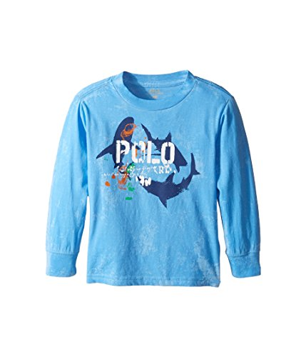 Polo Ralph Lauren Kids Basic Jersey Long Sleeve Graphic Tee Toddler Riviera Blue Boy's T - Ralph Polo Lauren India