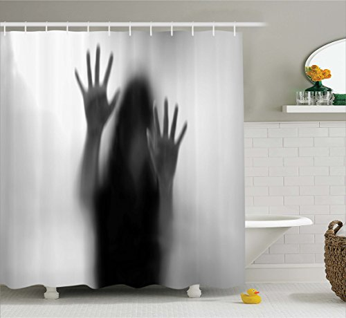 Ambesonne Horror House Decor Shower Curtain by, Silhouette of Woman behind the Veil Scared to Death Obscured Paranormal Photo, Fabric Bathroom Decor Set with Hooks, 70 Inches, Gray by Ambesonne