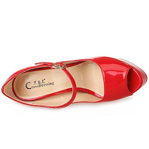 red L de Mode la Robe les Main YC la Féminine Stiletto Pompes Sur Peep Mariage de à Pour Chaussures Soirée Toe Slip rrq16w50x