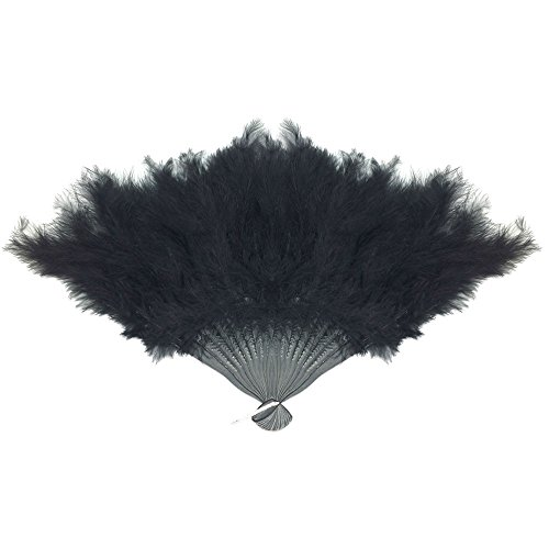 large black feather hand fan - 5