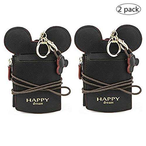 (YIEASDA Travel Neck Pouch, Cute Small Fashion Student ID Card Case Holder Coin Wallet Purse for Women/Girls/Children (Black 2pack))