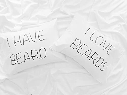 prz0vprz0 V Pack of 2 Couple Pillo wcases His and Hers Pillow Cover Mr and Mrs, I Love Beards, Couple Gift, Beard de ...
